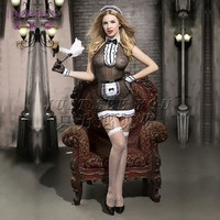 IDARMEE Top Grade Lover's Gift Sexy Maid Costume Outfits Women Erotic Lingerie Transparent Lace Dress French Maid Cosplay S9190