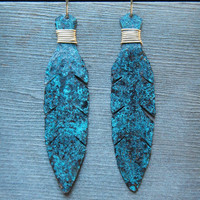 Blue Patina Copper Feather Earrings, Cormorant Feather Earrings, Hammered Copper Earrings, Wire Wrapped Feather Earring, Boho Hippie Earring