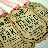 Gift Tags, Set of 6, Apothecary Label, Hand Baked, Edible Goods, Wedding, Favor, Hang Tags, Vintage Style, Luxury Tag, Choose Ribbon Colours