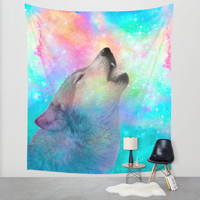 Breathing Dreams Like Air (Wolf Howl Abstract) Wall Tapestry by Soaring Anchor Designs