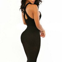 Black Halter Backless Cutout Midi Bodycon Dress