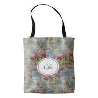 Pink Flamingos Mosaic Personalized Tote Bag
