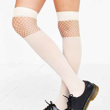 Pattern Nylon Over-The Knee Sock- Ivory One