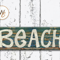 "Beach Sign, 5.5""x17"" Wood Sign, Rustic Nautical Home Decor, Distressed Beach Decor, Beach Bathroom Sign, Made To Order"