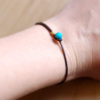 Simple leather wrap bracelet, robins egg blue bead closure, gold or silver detail, recycled material, thin friendship bracelet