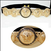 VERSACE:Big punk retro gold head portrait lion head tight waist belt ladies lingerie