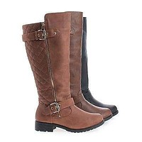 Paper1 By Top Moda, Knee High Round Toe Quilted Shaft Zip Up Riding Boots