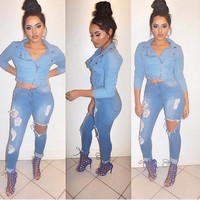 Fashion hole jeans feet pants stretch pants