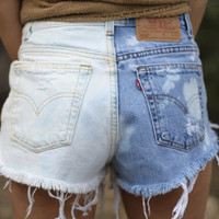 Half Bleached ALL SIZES (normal and plus size) High Waisted Shorts
