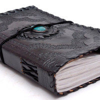 Customize Turquoise stone Leather Journal Notebook Diary Sketchbook Album black