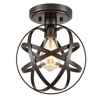 [Upgraded] Dazhuan Antique 1-Light Metal Globe Chandelier with Cage Flush Mount Ceiling Lamp Light Fixture