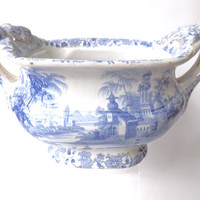Small Tureen or Serving Dish, 1850 Blue & White Pearlware, Antique Staffordshire Transferware, Sauce Dish, Cottage Interior Vintage Kitchen