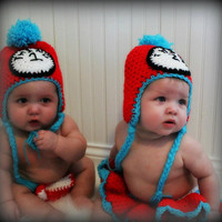 Crochet baby hatsThing 1 and Thing 2 by KCrochetdesigns on Etsy