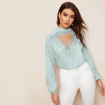 Eyelash Lace Trim Cut-Out Front Top Elegant Blue Pastel Stand Collar Blouse Chic Long Sleeve Women Blouses