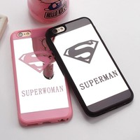 Cute Cartoon Superman Mirror Surface Rubber Phone Case For iPhone 6 7 8 6S Plus Luxury Couple Superwoman Cover For Iphone5 5S SE