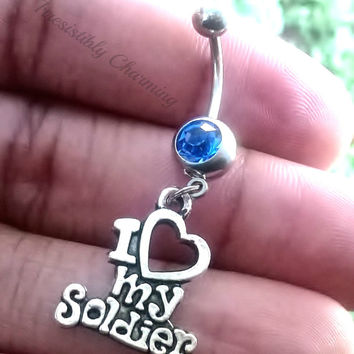 14 gauge stainless steel belly navel ring, body jewelry, 14g with I Love my Soldier charm