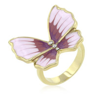Butterfly 3-stone Ring, size : 08