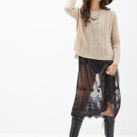 FOREVER 21 Boxy Cable Knit Sweater Taupe