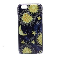 WYECLK Painting Vintage Retro Sun Moon Space Nebula Pattern Hard Back Skin Case Plastic Cover For iPhone 6 4.7 Inch