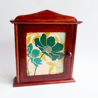 Medium brown and turquoise wooden key box cabinet wall decor hand painted hanging key box gift idea