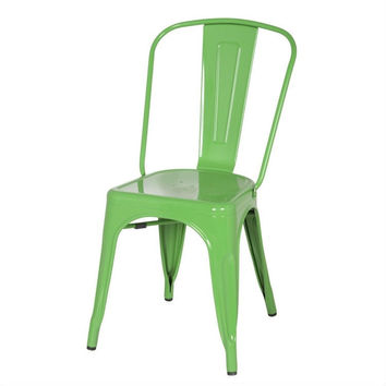Green Galvanized Steel Vintage Modern Classic Style Cafe Side Chair