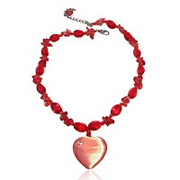 Artisan Heart Natural Stone and Crystal Necklace