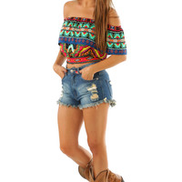 Wild Montana Skies Crop Top: Multi