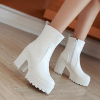 Round Toe High Heels Platform Ankle Boots Women Shoes 75983277