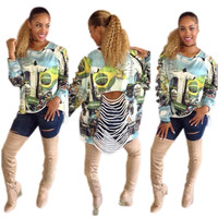 Modern Print Cut-Out Sweatshirt