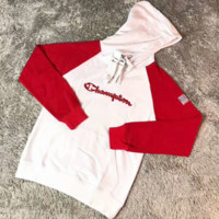 Champion Fashion Letter Print Round Neck Top Pullover Hooded Sweater Sweatshirt G-YF-MLBKS