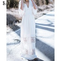 Long Beach Dress Lace Cotton Bikini Cover up 2018 Plus size Swimwear Bathing suit Cover ups Robe Plage Kaftan Beach Cover up