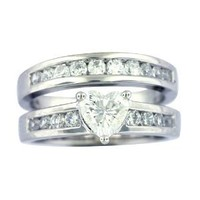 Platinum Plated Sterling Silver Cubic Zirconia Heart-Shaped and Round Bridal Ring Set, Size 6