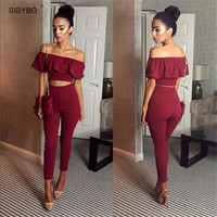 Women Rompers 2017 New Autumn Style Off Shoulder Ruffles Cropped 2 Piece Bodysuit Sexy Slim Bodycon Club Jumpsuit Overalls