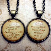 Set of 2: Elvish Not All Those Who Wander Are Lost Necklace - Tolkien Necklace Lord of the Rings inspired