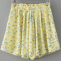 Yellow Elastic Waist Floral Skirt Shorts