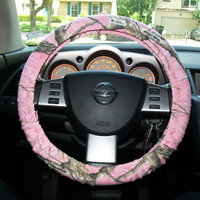 Pink Cotton Camo Steering Wheel Cover by mammajane on Etsy