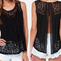 S-4XL Summer Women Chiffon Crochet Lace vest Blouse Shirt Sexy Open Back sleeveless shirts tank tops Black Blusas Femininas [6264361156]