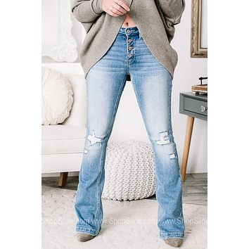 The Good Times Distressed Flare Jeans | Light Wash