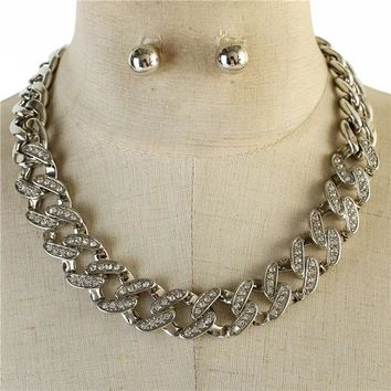 """17"""" silver crystal link necklace .50"""" earrings"""