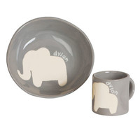 Personalized Cup & Bowl Set - Elephant | giggle