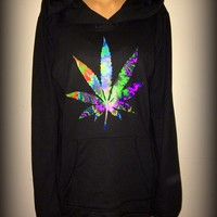 trippy weed, cannabis, high, dope, hipster, festival, drugs, sweatshirt, pullover, hoodie, psychedelic, moot