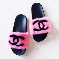 Designer Inspired Mink Fur Slides