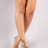 Snake Embossed Strappy Transparent Pointy Open Toe Stiletto Heel | UrbanOG
