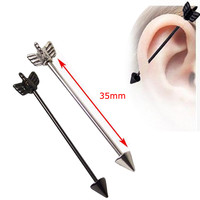 1 Piece Black Silver Arrow Love16G 35mm Long Industrial Straight Barbell  316L Stainless Steel Body Ear Piercing Jewelry
