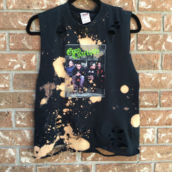 GOOD CHARLOTTE  bleached, distressed, band concert T  shirt, ripped, torn, shredded, rock n roll, tank