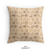 Rose Gold Pillow Cover,HoneyComb Pillow,Hexagon Pillow,Pink,Decorative Pillow,Cushion Cover,Faux Rose Gold Foil,Home Decor,NewSerenityStudio