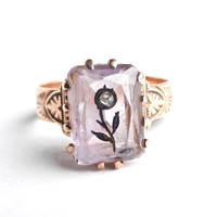 Antique 10k Rose Gold Victorian Ring   Etched by MaejeanVINTAGE