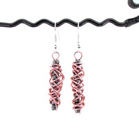 Rose gold earrings, wire wrapped day earrings with slate gunmetal grey seed beads , silver plated earring wires uk seller