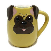 3-d Figural PUG Puppy Dog Pup 16 Oz Coffee Tea Mug Cup Hand Painted By Tag