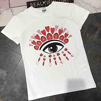 KENZO 2018 spring and summer counter new couple embroidery glasses T-shirt F-AA-SYSY white/red